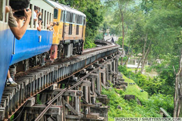 People at an incentive trip on a train of Kanchanaburi's Railway of Death