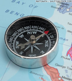 Compass on a map of the Andaman region