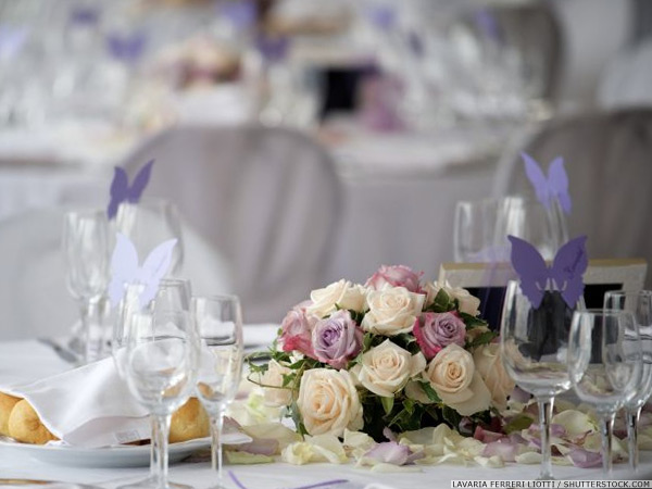 Bouquet on a decorated wedding dinner table
